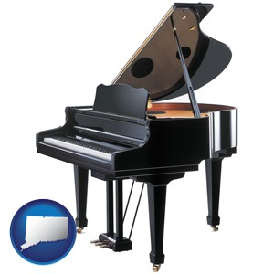a grand piano - with Connecticut icon