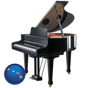 a grand piano - with Hawaii icon