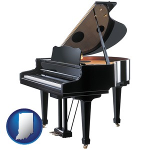 a grand piano - with Indiana icon