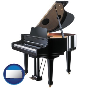a grand piano - with Kansas icon