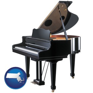 a grand piano - with Massachusetts icon