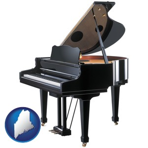 a grand piano - with Maine icon