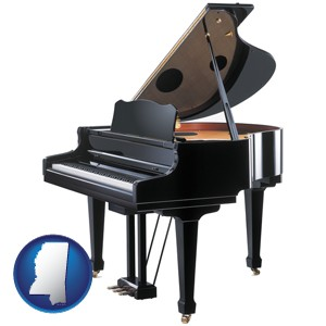 a grand piano - with Mississippi icon