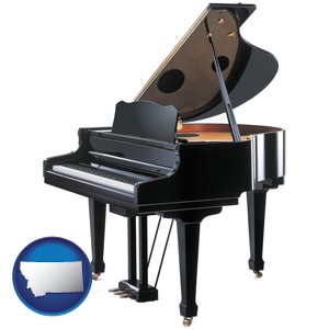 a grand piano - with Montana icon