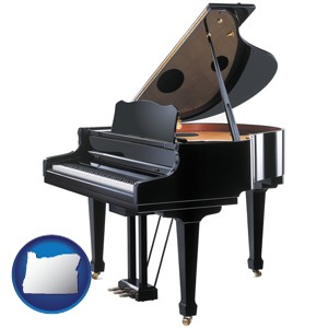 a grand piano - with Oregon icon