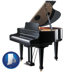 a grand piano - with Rhode Island icon