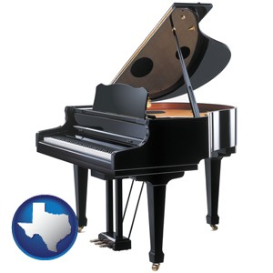a grand piano - with Texas icon