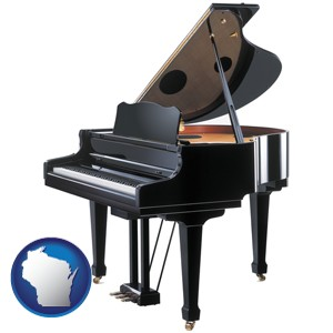 a grand piano - with Wisconsin icon