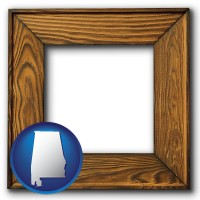 alabama a wooden picture frame