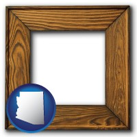 arizona a wooden picture frame