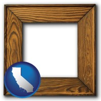 california a wooden picture frame