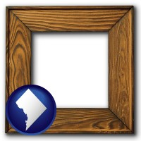 washington-dc a wooden picture frame