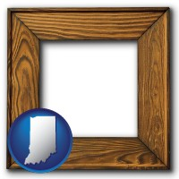 indiana a wooden picture frame
