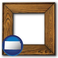 kansas a wooden picture frame