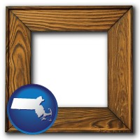massachusetts a wooden picture frame