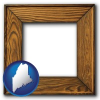 maine a wooden picture frame
