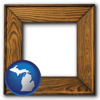 michigan a wooden picture frame