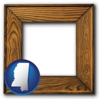 mississippi a wooden picture frame