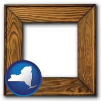 new-york a wooden picture frame