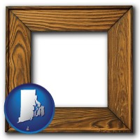 rhode-island a wooden picture frame