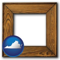virginia a wooden picture frame