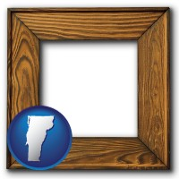 vermont a wooden picture frame