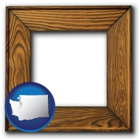washington a wooden picture frame