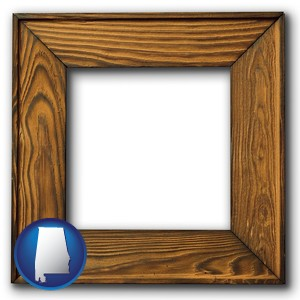 a wooden picture frame - with Alabama icon