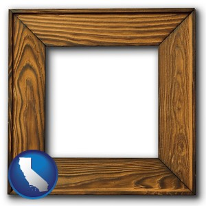 a wooden picture frame - with California icon