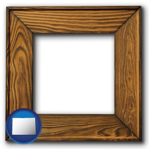 a wooden picture frame - with Colorado icon