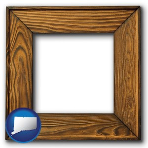 a wooden picture frame - with Connecticut icon