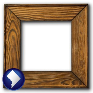 a wooden picture frame - with Washington, DC icon