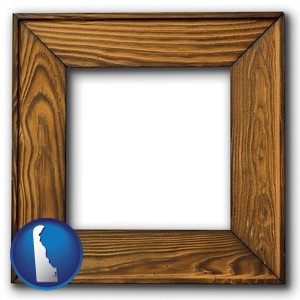 a wooden picture frame - with Delaware icon