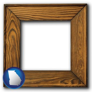 a wooden picture frame - with Georgia icon
