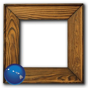 a wooden picture frame - with Hawaii icon