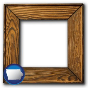 a wooden picture frame - with Iowa icon