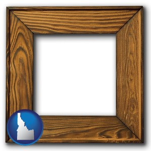 a wooden picture frame - with Idaho icon