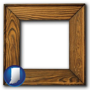 a wooden picture frame - with Indiana icon
