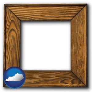 a wooden picture frame - with Kentucky icon
