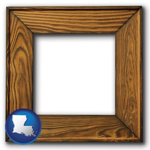 a wooden picture frame - with Louisiana icon