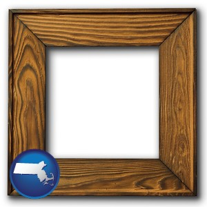 a wooden picture frame - with Massachusetts icon