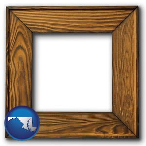 a wooden picture frame - with Maryland icon