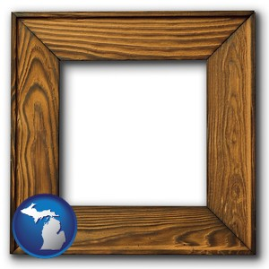 a wooden picture frame - with Michigan icon
