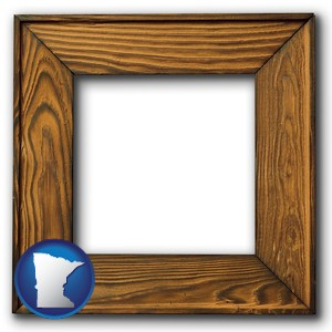 a wooden picture frame - with Minnesota icon