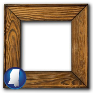 a wooden picture frame - with Mississippi icon