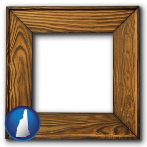 a wooden picture frame - with New Hampshire icon
