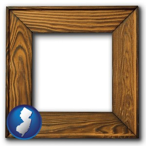 a wooden picture frame - with New Jersey icon