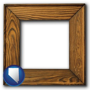a wooden picture frame - with Nevada icon