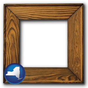 a wooden picture frame - with New York icon