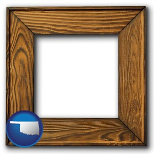 a wooden picture frame - with Oklahoma icon